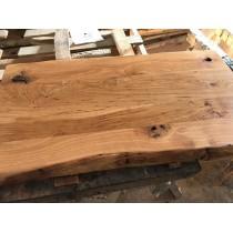 Eiche rustikal spezial, wurmstichig, verleimt, Massivholz Tischplatte, 120x45x4,5cm, einseitige Baumkante