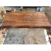 Baumscheibe, Waschtisch, Tischplatte, Altholz-Stil, Antik, Eiche, Baumkante 60x35x4,5cm