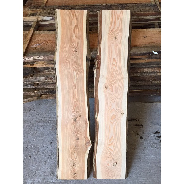 Baumscheibe, Brett, Bohle, rustikal, unbesäumt Lärche, Handwerk, Massivholz 150x20-25x2,5cm