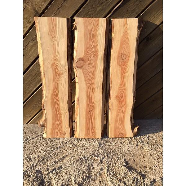 Tischplatte für Eigenbau im Set, unbesäumte Bohlen, Baumscheibe, Bretter, Lärche 90x60x2,5cm