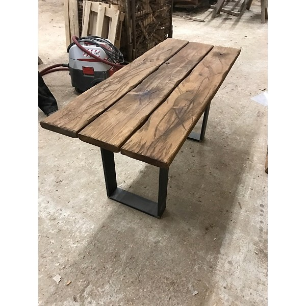 Baumscheibe, Tischplatte, Gartentisch, Bohlen Eigenbau, Eiche, Altholz, 90x80x3,5cm