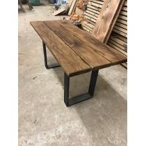 Baumscheibe, Tischplatte, Tisch, Bohlen Eigenbau, Eiche, Altholz, 195x100x3,5cm