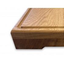 Eiche 60mm, Schneidebrett aus Holz, Hackbrett mit Saftrille und Griffen, umlaufender Fase, verleimt