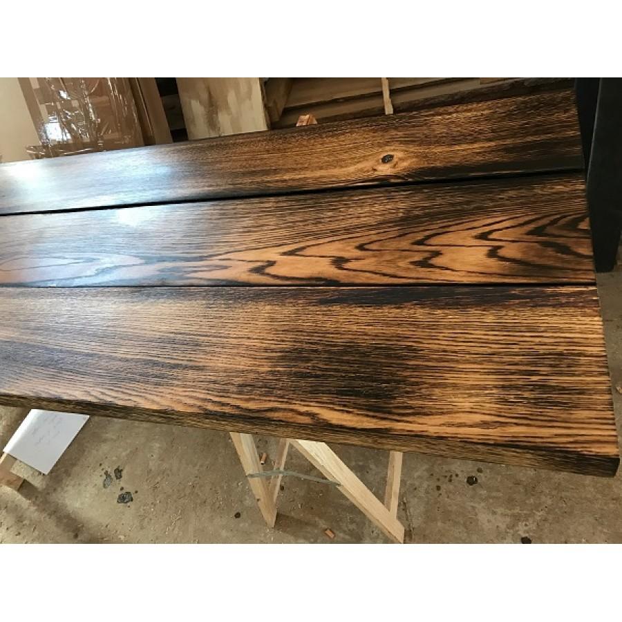 brett bohle rustikal tisch tischplatte eiche geflammt diy vollholz 150cm ge lt. Black Bedroom Furniture Sets. Home Design Ideas