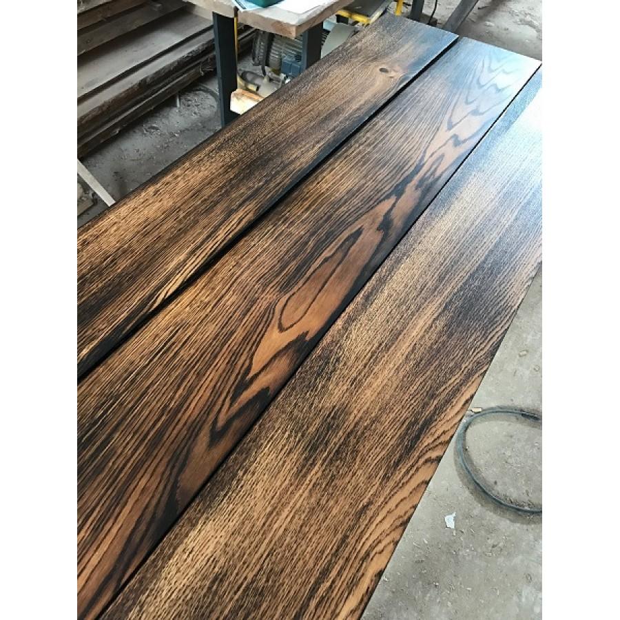 brett bohle rustikal tisch tischplatte eiche geflammt diy vollholz 150x25x3 5cm ge lt. Black Bedroom Furniture Sets. Home Design Ideas