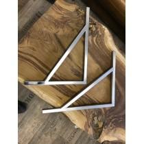 2 Waschtischplattenhalter, Wandhalterung, Edelstahl, handgefertigt, 45 x 35 cm, Vierkant 2 x 2 cm