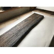 Altholz-Stil, Regal, Ablage, STRUKTURIERT, GEBÜRSTET, Baumkante, Eiche, schwarz (BLACK) geölt, 140x25x3cm