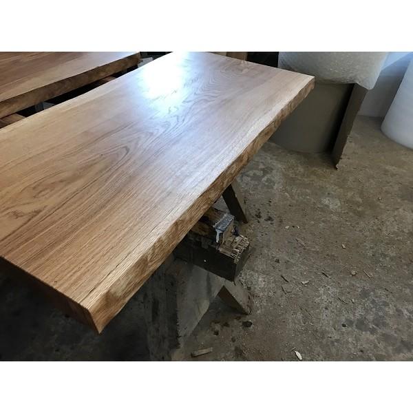 Tischplatte, Waschtisch, Eiche, beidseitig Baumkante, rustikal, geschliffen, geölt 130x50x4,5cm