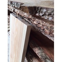 Baumscheibe, Brett, Bohle, rustikal, unbesäumt/gerade Lärche, Massivholz 60x20-25x2,5cm