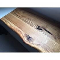 Deckplatte Wildeiche für IKEA Lowboard, Holzplatte, rustikal, einseitige Baumkante, geölt, Maße wählbar,