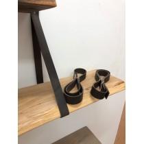2 Stück Lederriemen, Regalhalter, Regalträger, Regalaufhängung, skandinavisch, Landhaus, dunkelbraun, 100x3cm