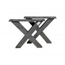 2 Stück X-Tischbein aus Rohstahl, Tischgestell, Tischuntergestell, Tischkufen, 72x66cm