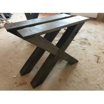2 Stück Eichenkreuze, Tischbein, Tischgestell, Tischkreuz, Kufengestell, Eiche, BLACK, 72x78 cm