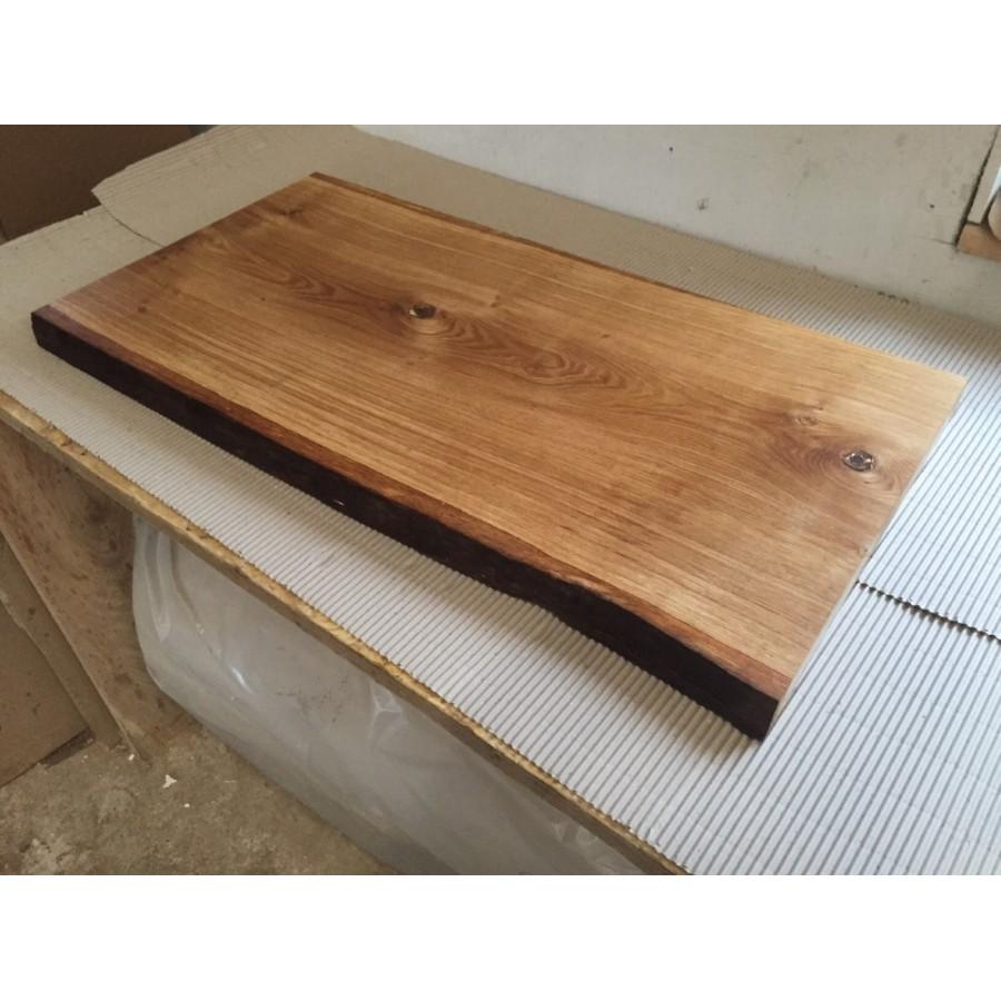 Tischplatte massivholz baumkante  Baumscheibe, Waschtisch, Tischplatte, unbesäumt/gerade, Eiche, Baumkante  60x45x4,5cm geölt