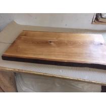 Baumscheibe, Waschtisch, Tischplatte, unbesäumt/gerade, Eiche, Baumkante 100x35x4,5cm geölt