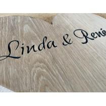 Holzherz mit individueller Gravur, personalisiert, Name, Datum, Schriftzug gefräst, 20x20x3cm