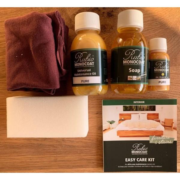 Easy Care Pflege-Set für Holz / Tischplatten, Pflegebox Rubio Monocoat, mit Seife, 2 Ölen, Tuch und Schwamm