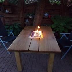 Kundenprojekt: Feuertisch aus Eichenholz-Zuschnitten!