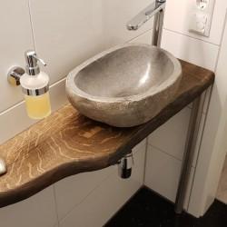 Kundenprojekt: Waschtisch im Gäste-WC aus BROWN geölter Eiche!