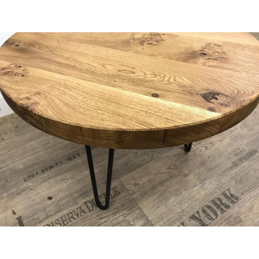 Eiche, runde Tischplatte, verleimt Ø 3333cm, Stärke 33,33 cm mit Fase, mit  Hairpin Füßen in schwarz-anthrazit, geölt