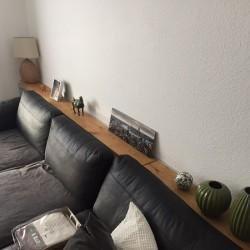 Kundenprojekt: Wohnzimmerablage aus Eichenbohlen!