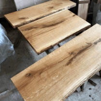 Baumscheibe, Waschtisch, Tischplatte, unbesäumt/gerade, Eiche, Baumkante 130x35x4,5cm geölt