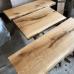Baumscheibe, Waschtisch, Tischplatte, unbesäumt/gerade, Eiche, Baumkante 180x50x4,5 cm geölt