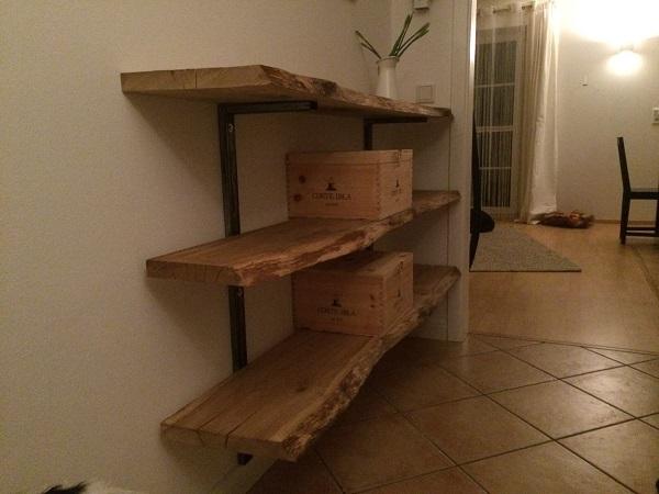 kundenprojekt regal aus eichenbohlen. Black Bedroom Furniture Sets. Home Design Ideas
