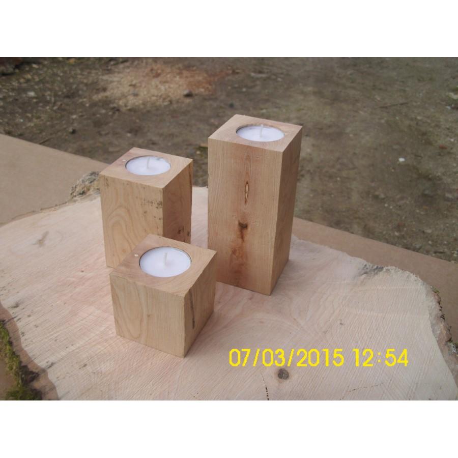 teelichthalter aus eiche, holz deko, 3er set, kerzenlichthalter