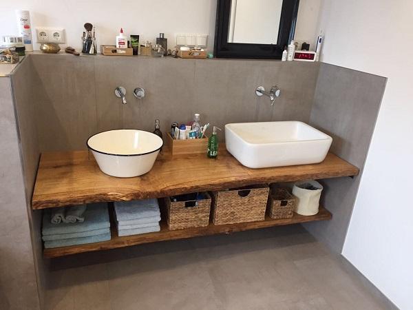 kundenprojekt grosser waschtisch und handtuchablage aus eiche